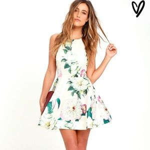 Lulus hydrangea floral fit and flare skater dress